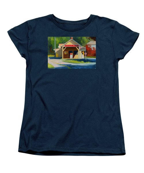 Earlysville Virginia Old Service Station Nostalgia Women's T-Shirt (Standard Cut) by Catherine Twomey