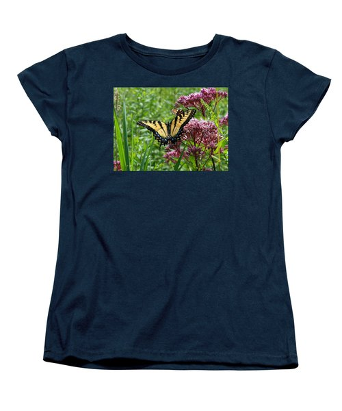 Women's T-Shirt (Standard Cut) featuring the photograph Eastern Tiger Swallowtail On Joe Pye Weed by Neal Eslinger