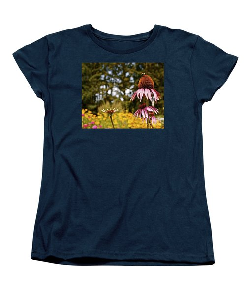 Women's T-Shirt (Standard Cut) featuring the photograph Echinacea With Bee by Linda Bianic