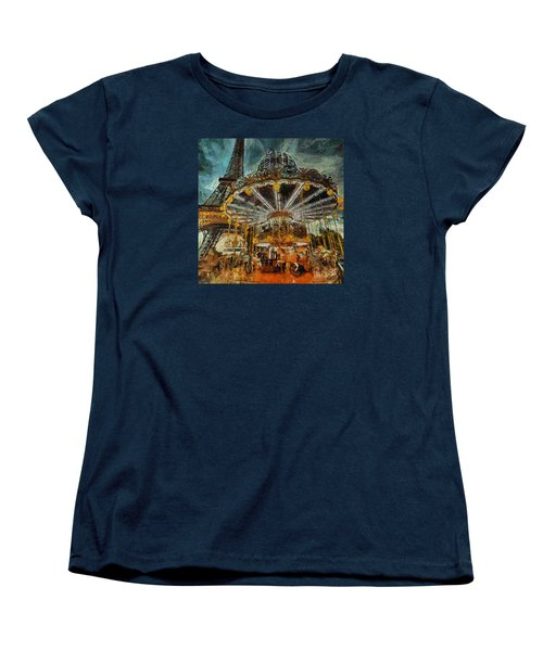 Women's T-Shirt (Standard Cut) featuring the painting Eiffel Tower Carousel by Dragica  Micki Fortuna