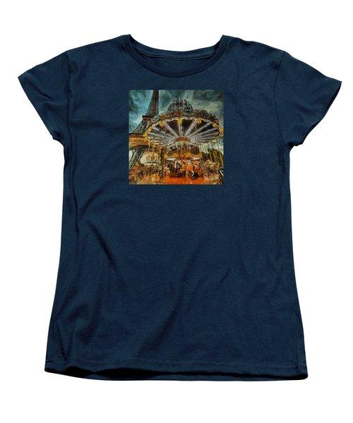 Eiffel Tower Carousel Women's T-Shirt (Standard Cut)