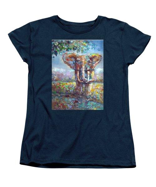 Women's T-Shirt (Standard Cut) featuring the painting Elephant Thirst by Bernadette Krupa