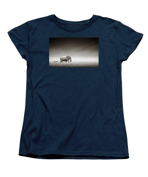 Elephant With Zebra Women's T-Shirt (Standard Cut) by Johan Swanepoel