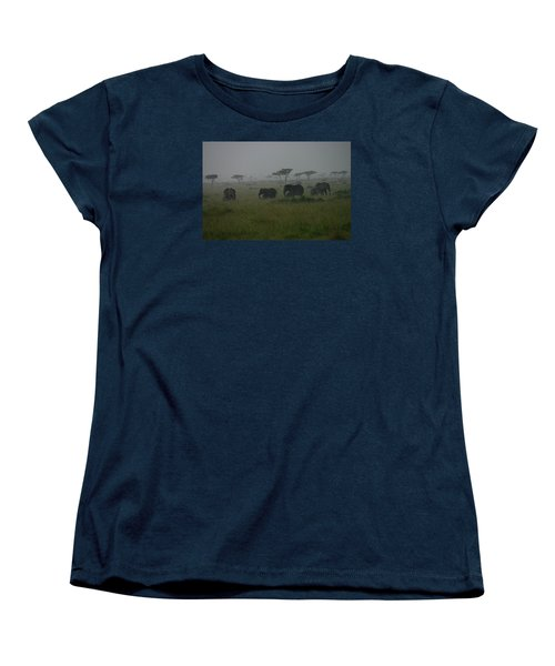 Elephants In Heavy Rain Women's T-Shirt (Standard Cut) by Menachem Ganon