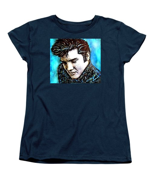 Women's T-Shirt (Standard Cut) featuring the painting Elvis Presley Never Left The Building Alcohol Inks by Danielle  Parent