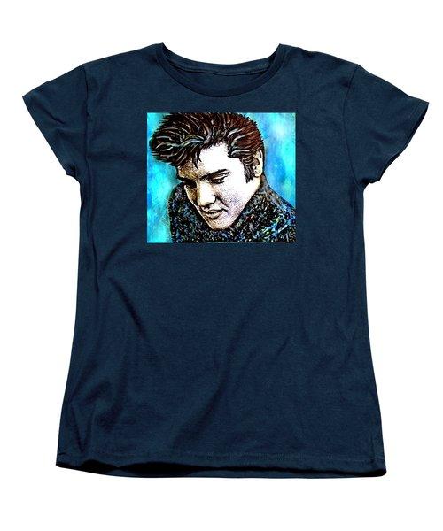 Elvis Presley Never Left The Building Alcohol Inks Women's T-Shirt (Standard Cut)