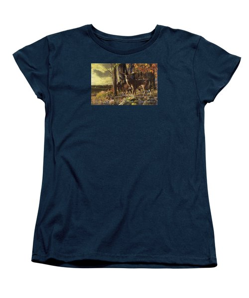 Women's T-Shirt (Standard Cut) featuring the painting Eminence At The Forest Edge by Rob Corsetti