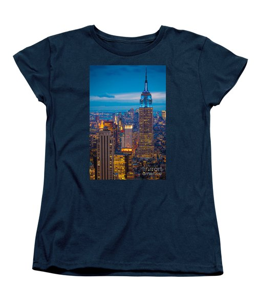 Empire State Blue Night Women's T-Shirt (Standard Cut) by Inge Johnsson