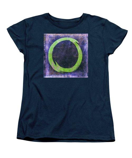 Enso No. 108 Green On Purple Women's T-Shirt (Standard Cut) by Julie Niemela