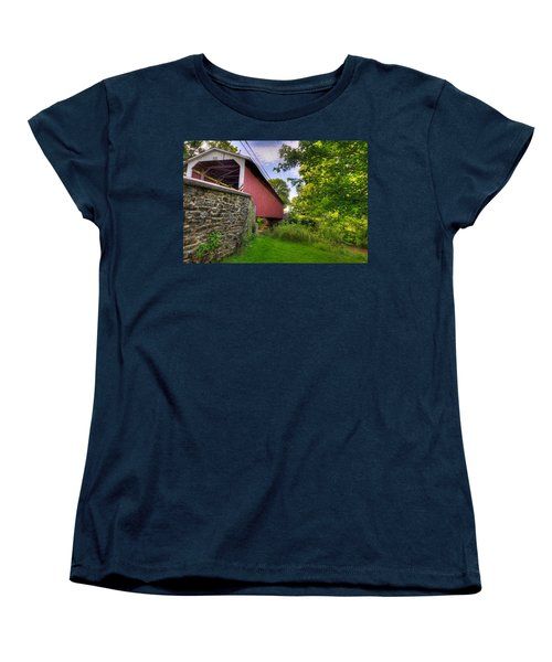 Women's T-Shirt (Standard Cut) featuring the photograph Eshelman's Mill Covered Bridge by Jim Thompson