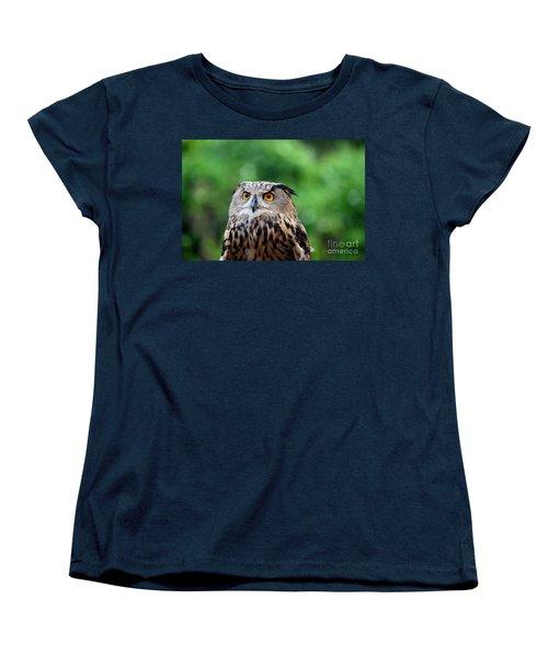 Eurasian Or European Eagle Owl Bubo Bubo Stares Intently Women's T-Shirt (Standard Cut) by Imran Ahmed