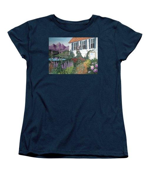 Women's T-Shirt (Standard Cut) featuring the painting European Flower Garden by Norm Starks