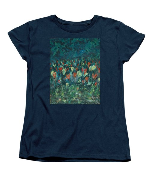 Women's T-Shirt (Standard Cut) featuring the painting Evening Buds by Mini Arora