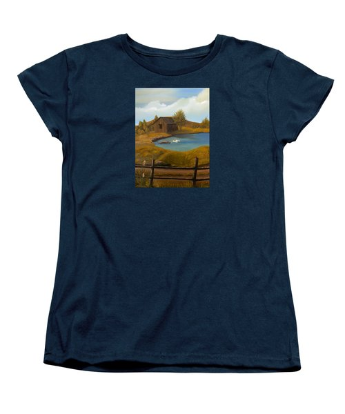 Women's T-Shirt (Standard Cut) featuring the painting Evening Solitude by Sheri Keith
