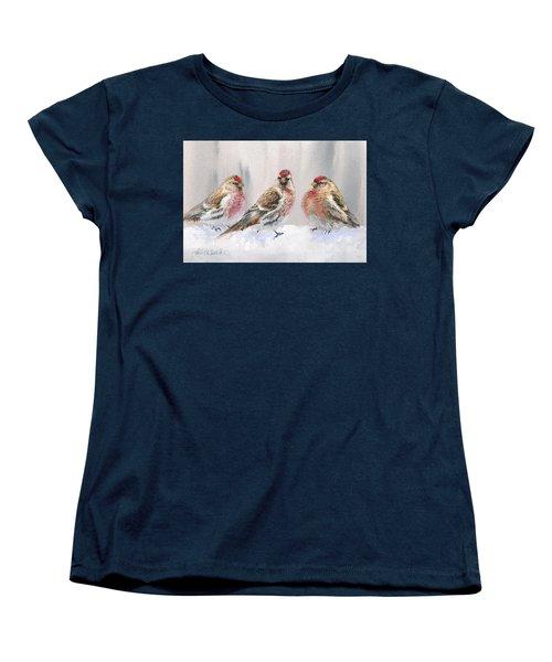 Snowy Birds - Eyeing The Feeder 2 Alaskan Redpolls In Winter Scene Women's T-Shirt (Standard Cut) by Karen Whitworth