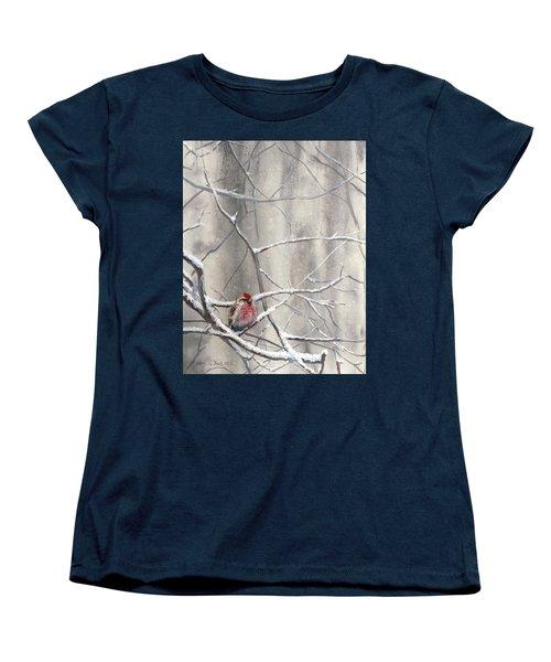 Eyeing The Feeder Alaskan Redpoll In Winter Women's T-Shirt (Standard Cut) by Karen Whitworth