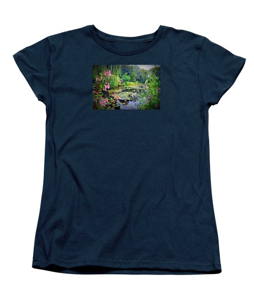 Fairy Tale Pond With Water Lilies And Willow Trees Women's T-Shirt (Standard Cut) by Carla Parris