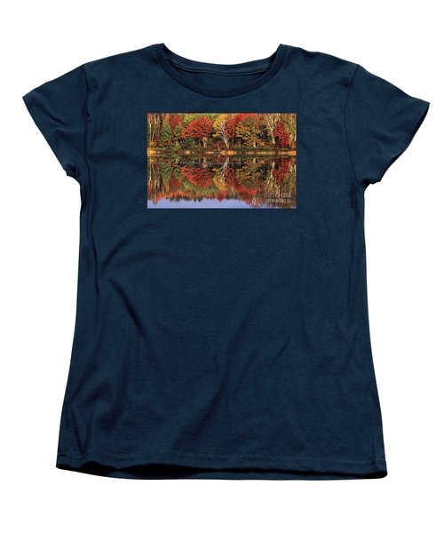Women's T-Shirt (Standard Cut) featuring the photograph Fall Color Reflected In Thornton Lake Michigan by Dave Welling