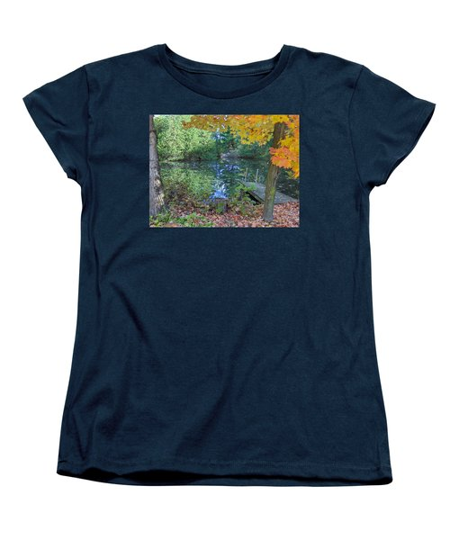 Women's T-Shirt (Standard Cut) featuring the photograph Fall Scene By Pond by Brenda Brown