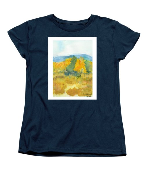 Women's T-Shirt (Standard Cut) featuring the painting Fall Trees by C Sitton