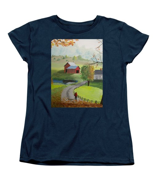 Women's T-Shirt (Standard Cut) featuring the painting Fall Walk by Norm Starks