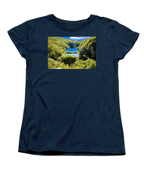 Falling Lakes Of Plitvice National Park Women's T-Shirt (Standard Cut) by Brch Photography