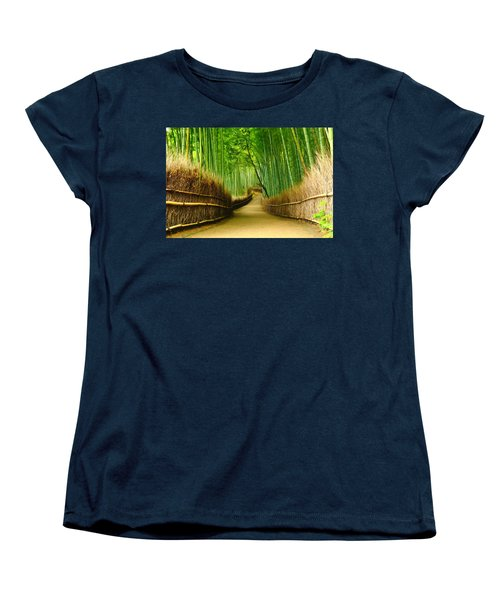 Famous Bamboo Grove At Arashiyama Women's T-Shirt (Standard Cut) by Lanjee Chee
