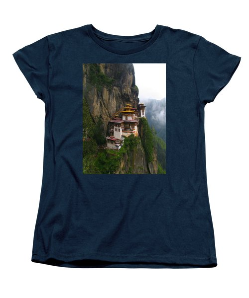 Famous Tigers Nest Monastery Of Bhutan Women's T-Shirt (Standard Cut) by Lanjee Chee