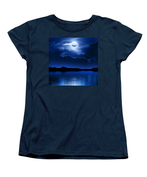 Fantasy Moon And Clouds Over Water Women's T-Shirt (Standard Cut) by Johan Swanepoel
