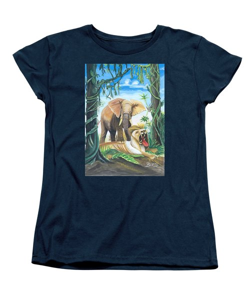 Women's T-Shirt (Standard Cut) featuring the painting Faune D'afrique Centrale 01 by Emmanuel Baliyanga