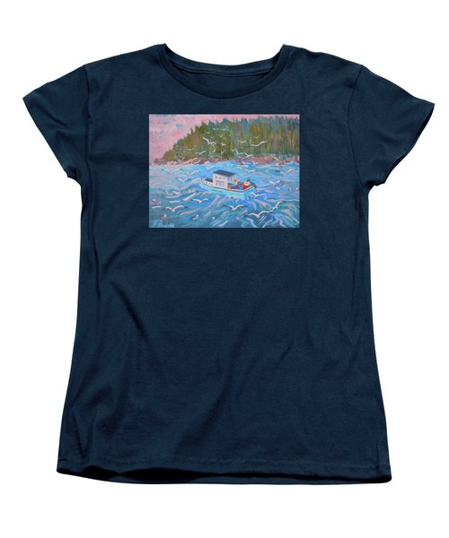 Women's T-Shirt (Standard Cut) featuring the painting Feeding The Flock by Francine Frank