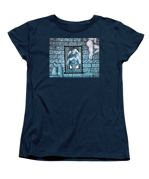 Women's T-Shirt (Standard Cut) featuring the painting Female's Gray World by Fei A