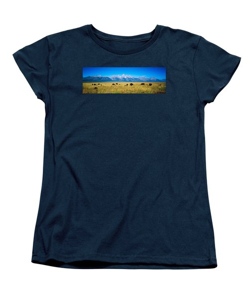 Field Of Bison With Mountains Women's T-Shirt (Standard Cut) by Panoramic Images