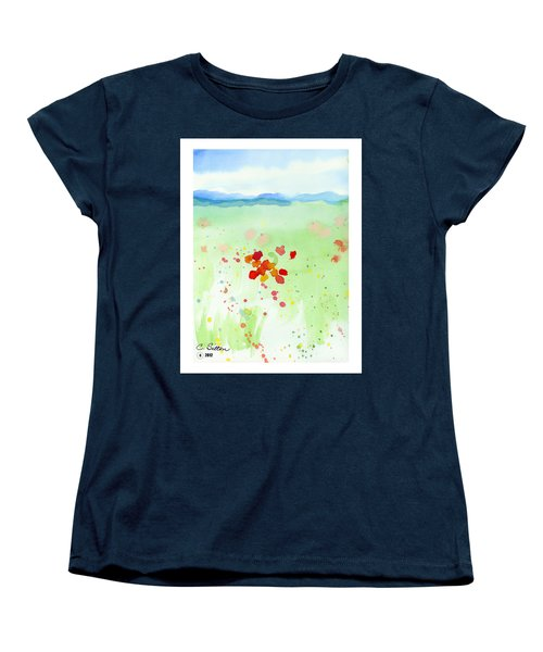 Women's T-Shirt (Standard Cut) featuring the painting Field Of Flowers 2 by C Sitton