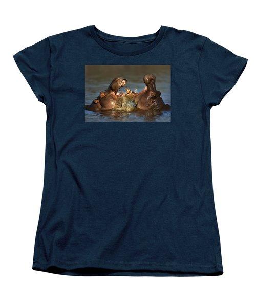 Fighting Hippo's Women's T-Shirt (Standard Cut) by Johan Swanepoel