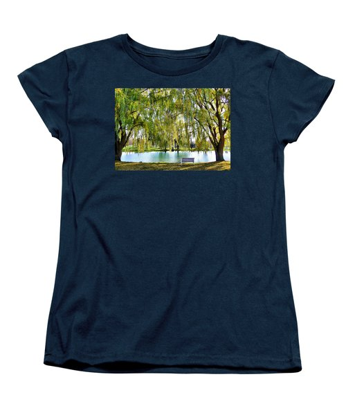 Women's T-Shirt (Standard Cut) featuring the photograph Finger Lakes Weeping Willows by Mitchell R Grosky