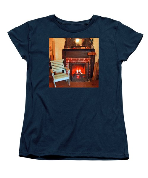The Family Hearth - Fireplace Old Rocking Chair Women's T-Shirt (Standard Cut) by Rebecca Korpita