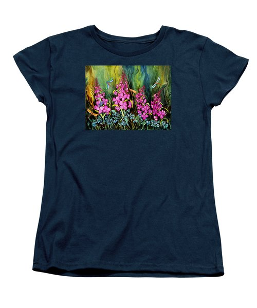 Fireweed And Dragonflies Women's T-Shirt (Standard Cut) by Teresa Ascone