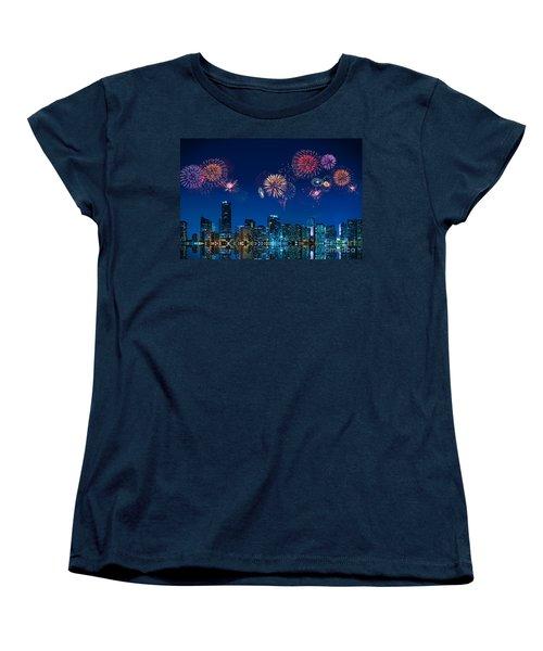 Fireworks In Miami Women's T-Shirt (Standard Cut) by Carsten Reisinger