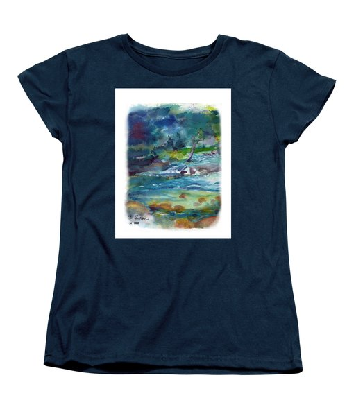 Women's T-Shirt (Standard Cut) featuring the painting Fishin' Hole 2 by C Sitton
