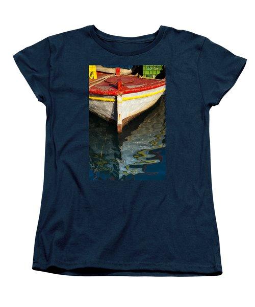 Fishing Boat In Greece Women's T-Shirt (Standard Cut) by Mike Santis