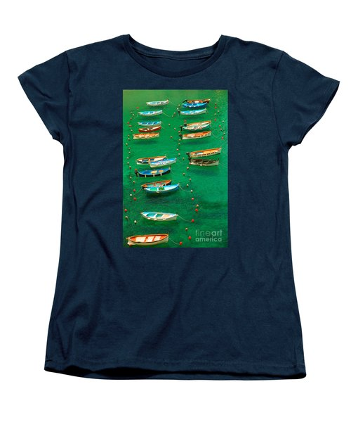 Fishing Boats In Vernazza Women's T-Shirt (Standard Cut) by David Smith