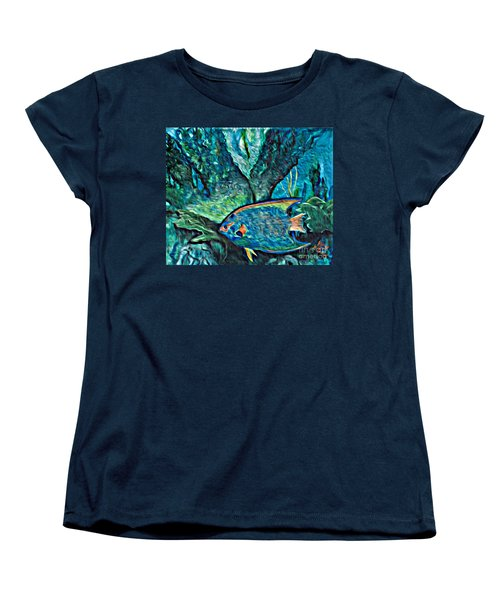 Women's T-Shirt (Standard Cut) featuring the painting Fishscape by Ecinja Art Works