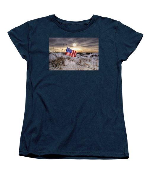 Flag On The Beach Women's T-Shirt (Standard Cut) by Michael Thomas