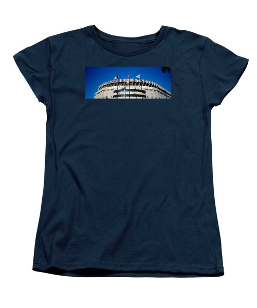 Flags In Front Of A Stadium, Yankee Women's T-Shirt (Standard Cut) by Panoramic Images