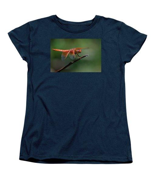 Flame Skimmer Dragonfly Women's T-Shirt (Standard Cut) by Linda Villers
