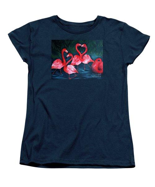 Flamingo Love. Inspirations Collection. Special Greeting Card Women's T-Shirt (Standard Cut) by Oksana Semenchenko