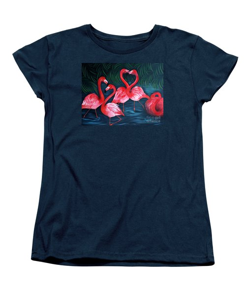 Flamingo Love. Inspirations Collection. Special Greeting Card Women's T-Shirt (Standard Cut)
