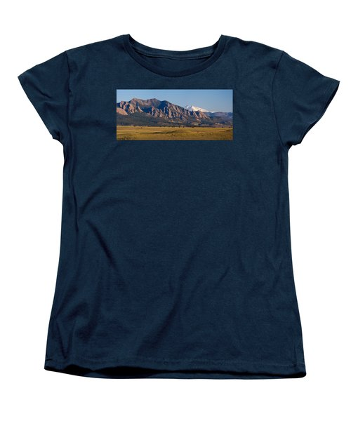 Flatirons And Snow Covered Longs Peak Panorama Women's T-Shirt (Standard Cut) by James BO  Insogna