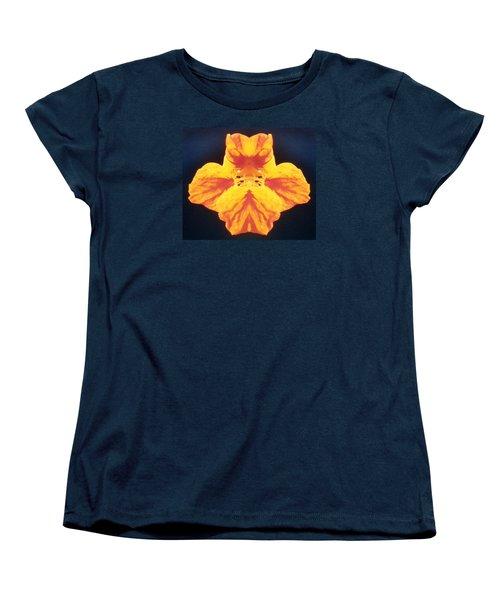 Bright Orange Floating Nasturtium Women's T-Shirt (Standard Cut) by Belinda Lee